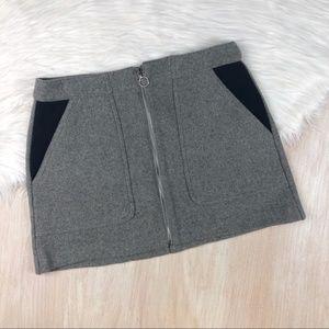 Zara Trafaluc Front Zip Mini Wool Blend Skirt